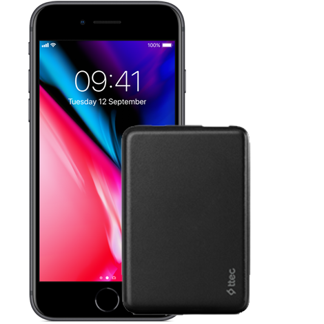 iPhone 8 64 GB<br> + ttec PowerCard 5 000 mAh
